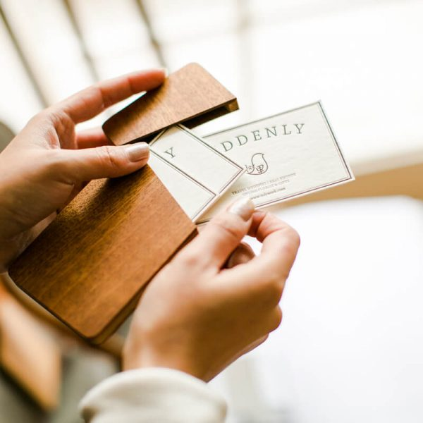 wooden name card holders
