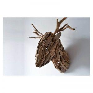 wooden deer head wall mount