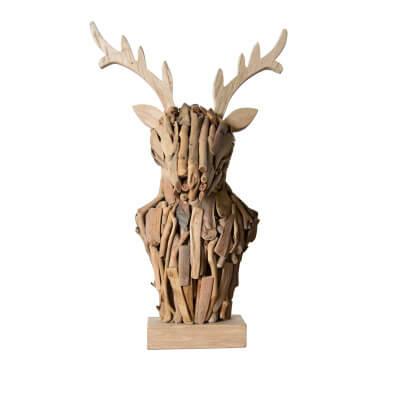 wooden animal head