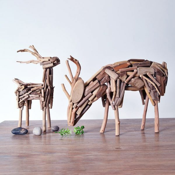 wooden animal ornaments