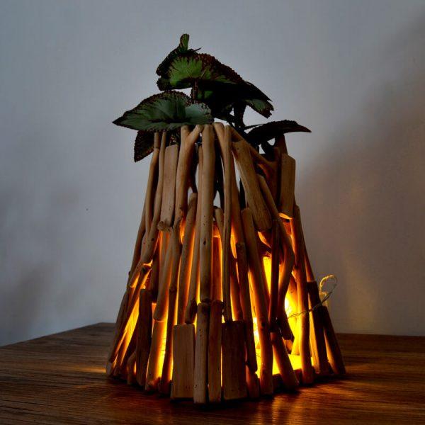 small wood vase