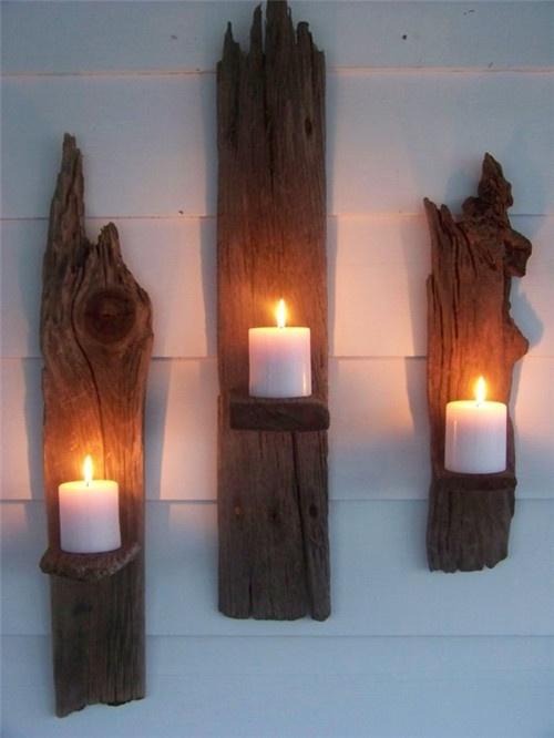 long wood candle holder