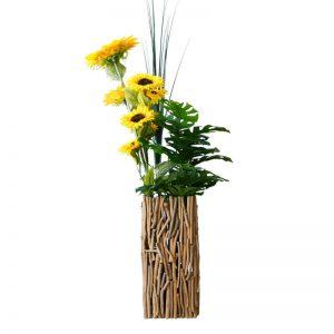 square wood vase