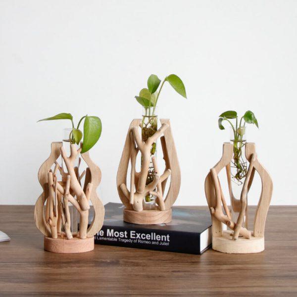 wood log vases